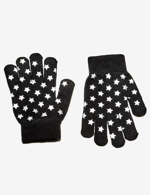gants imprimé étoiles noirs