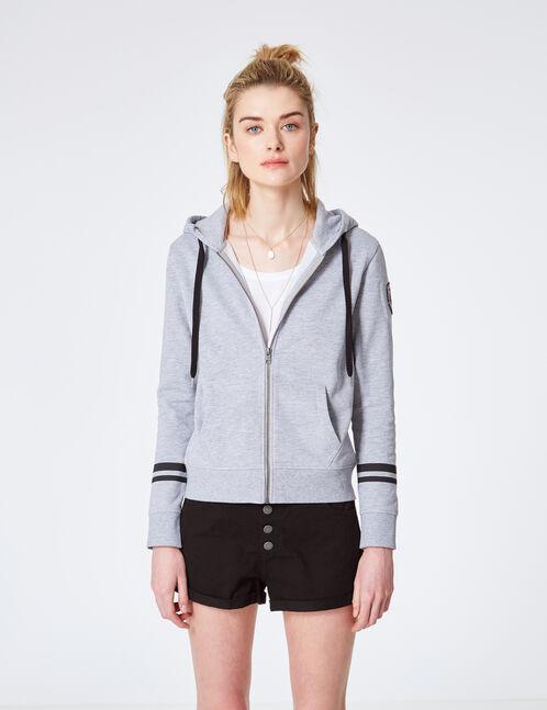 "Grey marl ""keep track"" zipped hoodie"