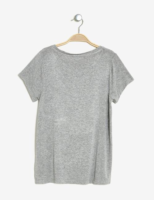 tee-shirt imprimé brillant gris chiné