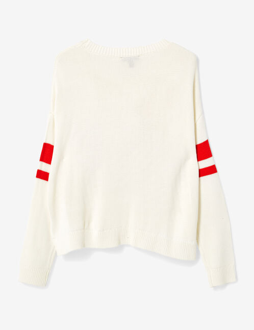"""Cream and red """"NYC"""" jumper"""