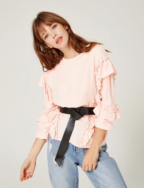 Light pink blouse with frill detail