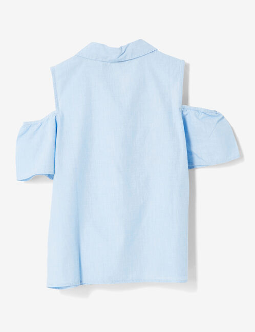 blouse à patchs bleu clair