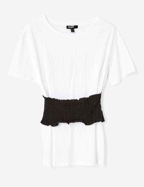 Black and white smocked belt T-shirt
