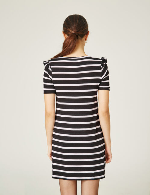Black and white striped dress with frill detail