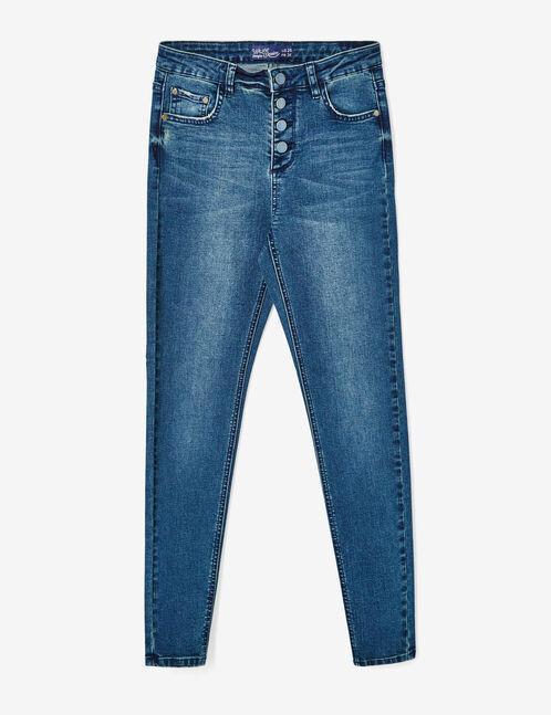 Medium blue high-waisted skinny jeans