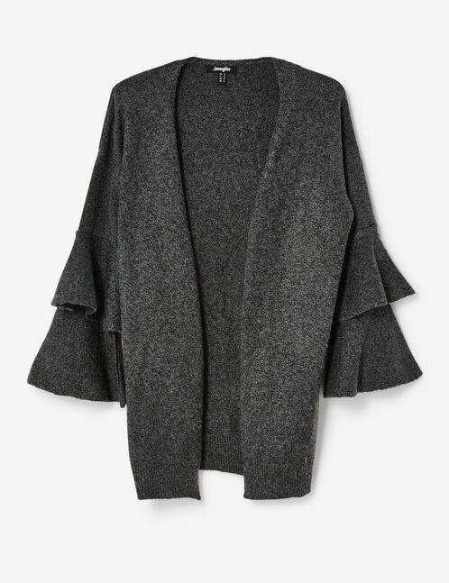 Charcoal grey marl frilled sleeve cardigan