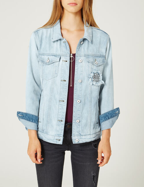 veste en jean à message bleu clair