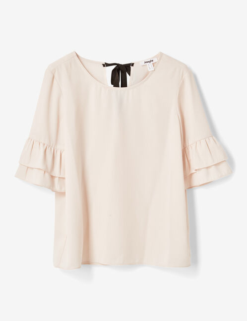 Light pink blouse with frilled sleeves