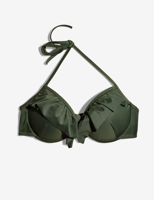 Khaki bikini top with frill detail