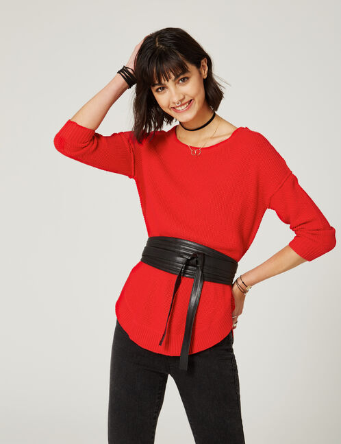 Long red textured jumper