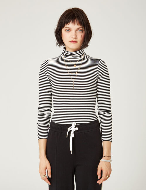 Basic black and white striped polo neck top