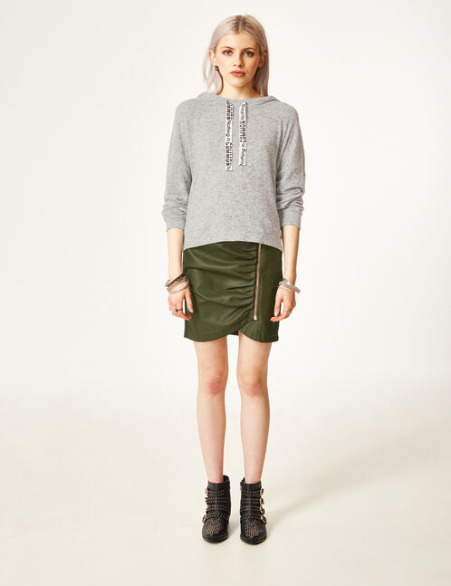 Khaki skirt with zip detail