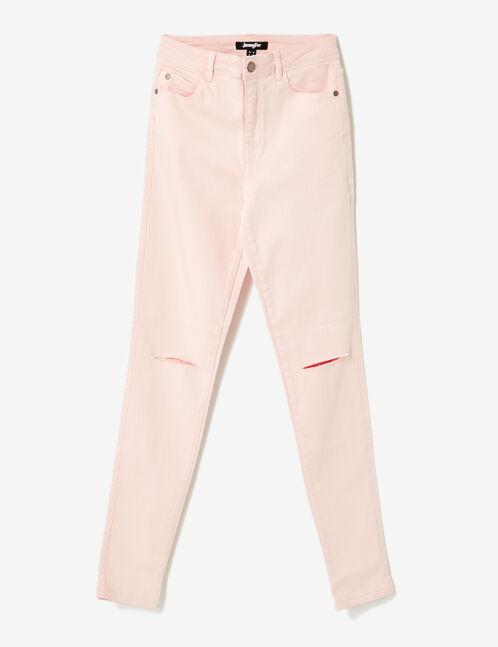 pantalon taille haute à cut rose clair