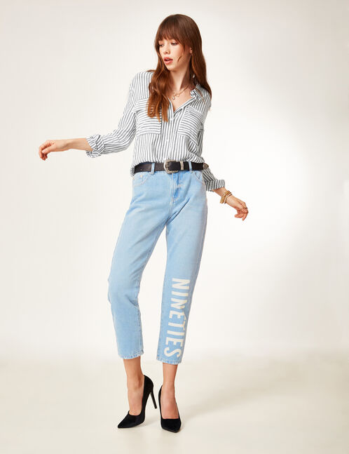 Light blue straight jeans with text design detail