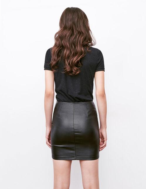 jupe tube zipp e enduite noire femme jennyfer. Black Bedroom Furniture Sets. Home Design Ideas