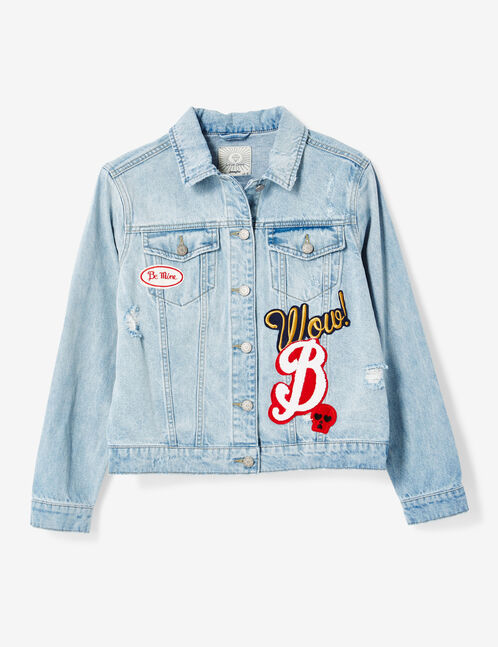 Light blue denim jacket with patch detail