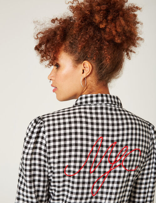 Black and white checked shirt with embroidered detail