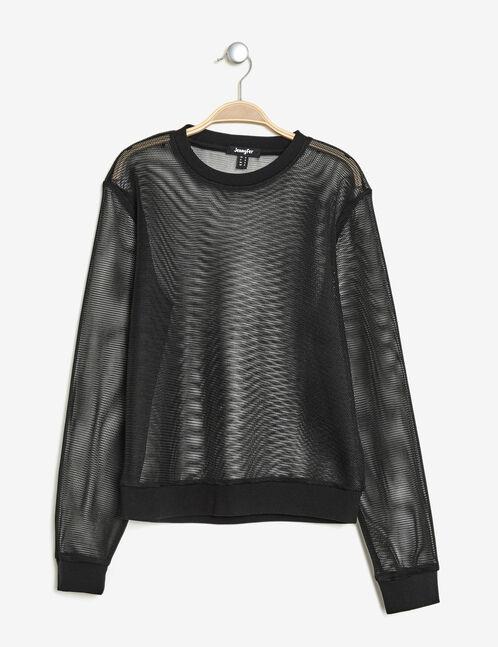 Black mesh sweatshirt