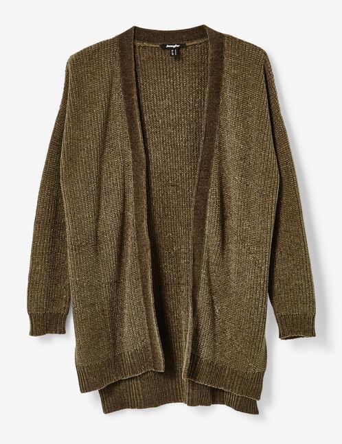 Khaki chenille open cardigan