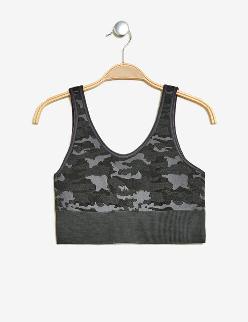brassière camouflage gris anthracite
