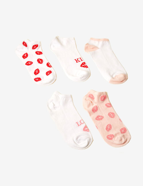 White and pink kiss socks