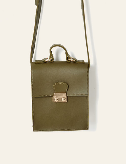 Khaki rectangular handbag