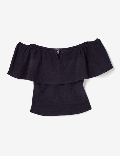Black top with cut-out shoulders