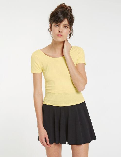 top court décolleté dos jaune pastel