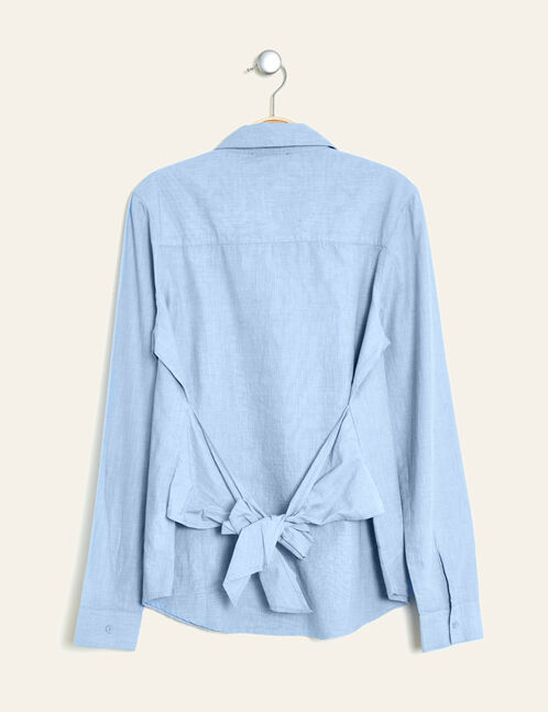 Light blue shirt with back tie detail