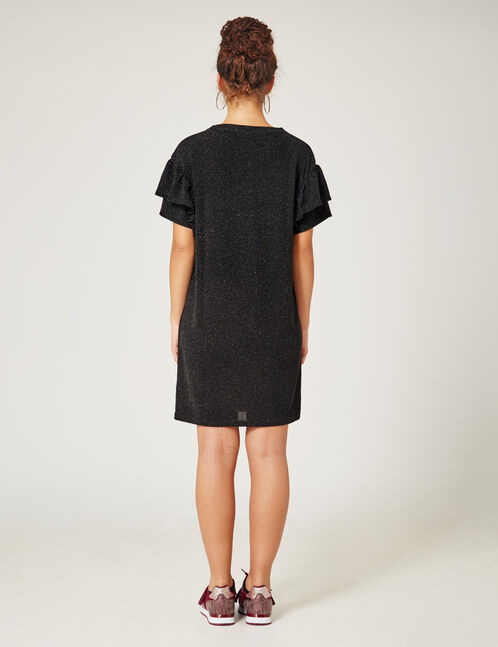 Black straight dress with frill detail