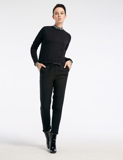 Black loose-fit tailored trousers