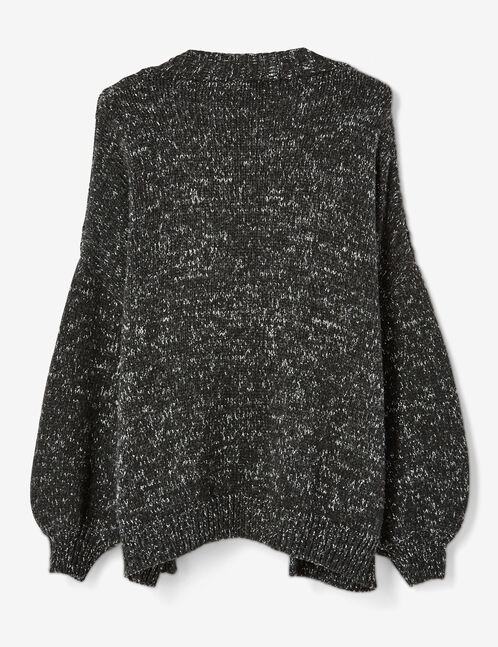 gilet manches oversize gris anthracite chiné