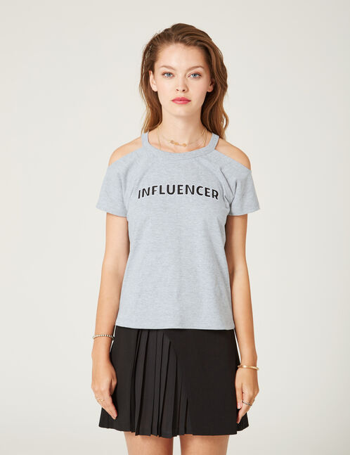 tee-shirt influencer gris chiné