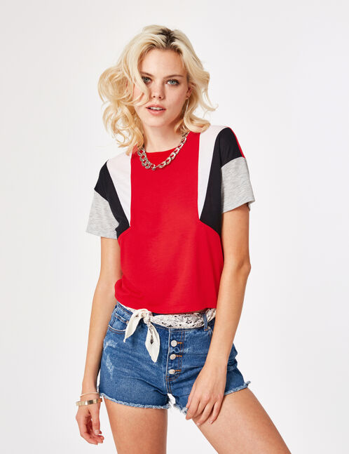 tee-shirt avec empiècements rouge