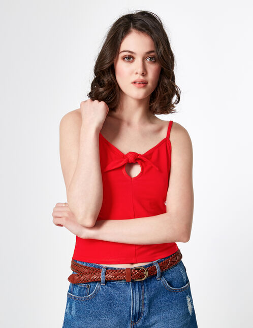 Red camisole with tie detail