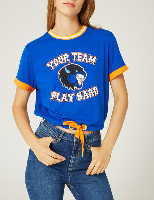 Blue and orange T-shirt with tie detail