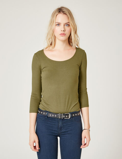 Khaki top with strappy back detail