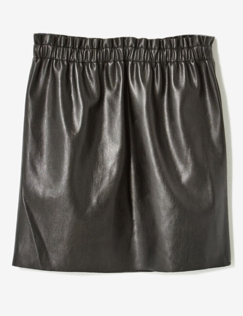 Black faux leather skirt with ruched detail