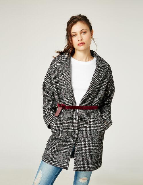 manteau en lainage jacquard noir et écru