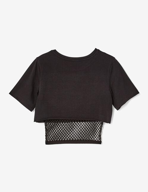 Black mixed fabric crop top
