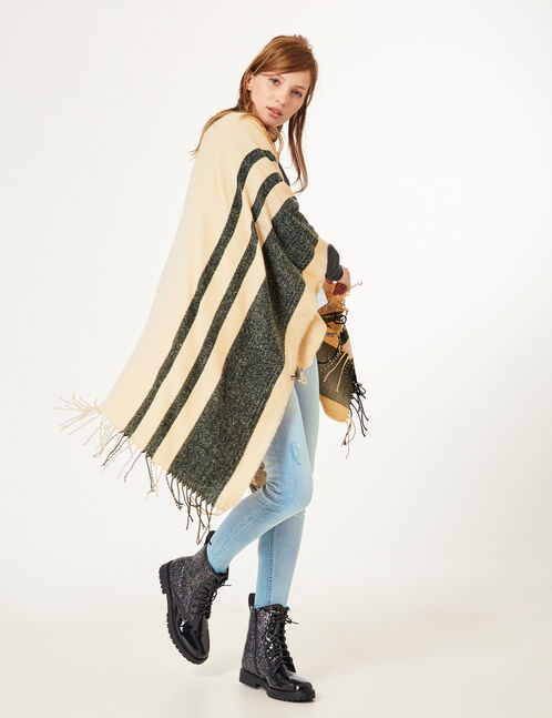Beige cape with stripe detail