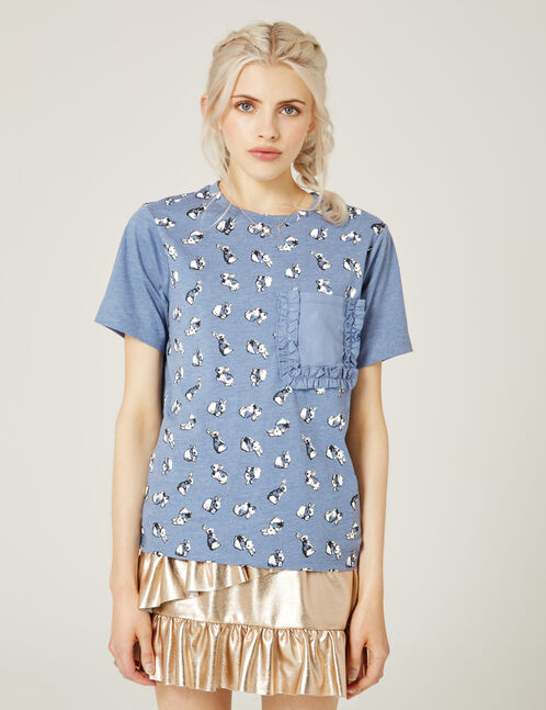 Light blue rabbit print T-shirt