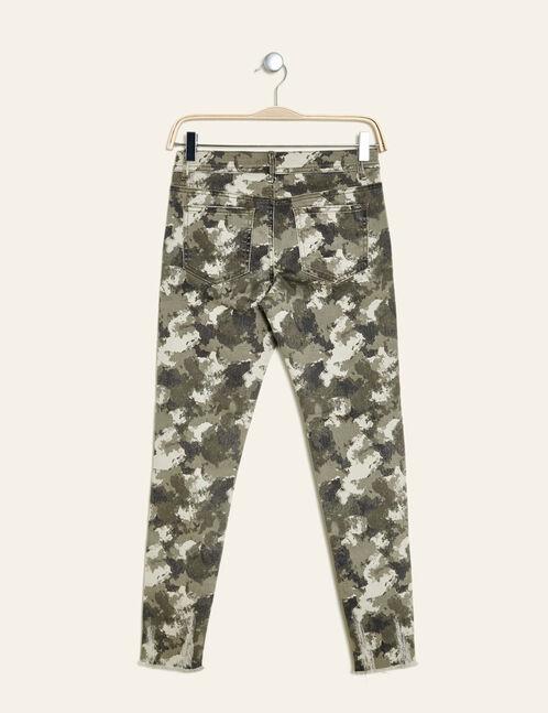 pantalon destroy zips déco kaki