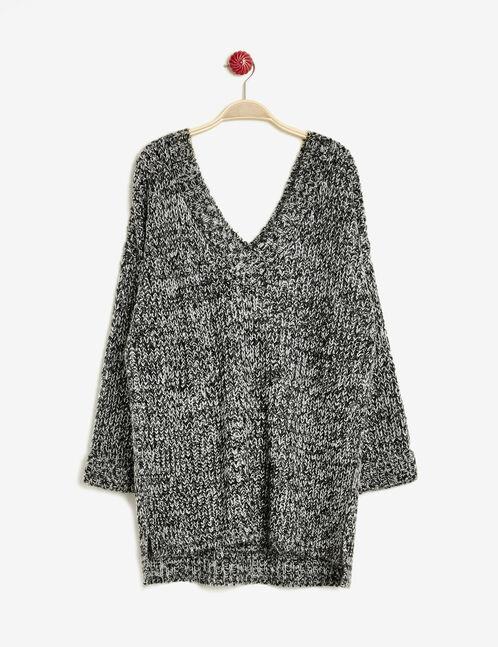 Black and white V-neck jumper