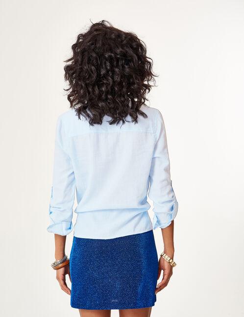 chemise à nouer bleu clair et écrue