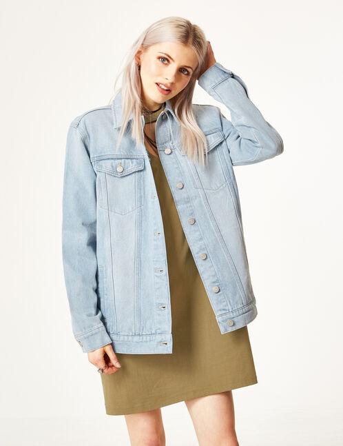 Long light blue denim jacket
