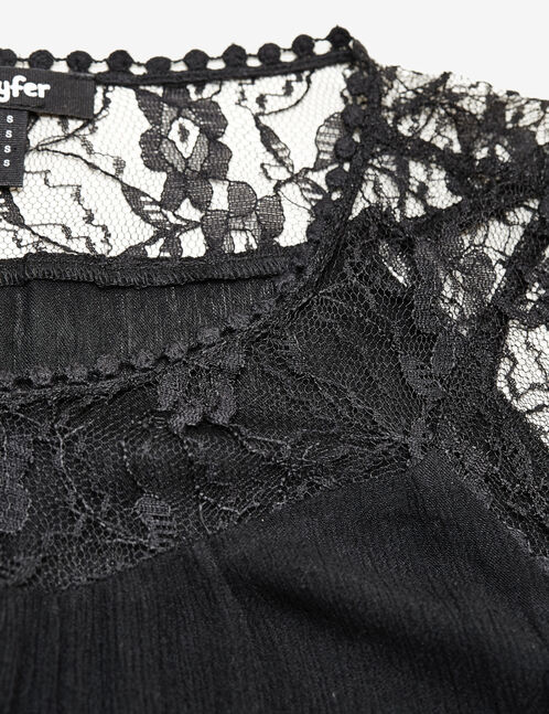 Black mixed fabric blouse
