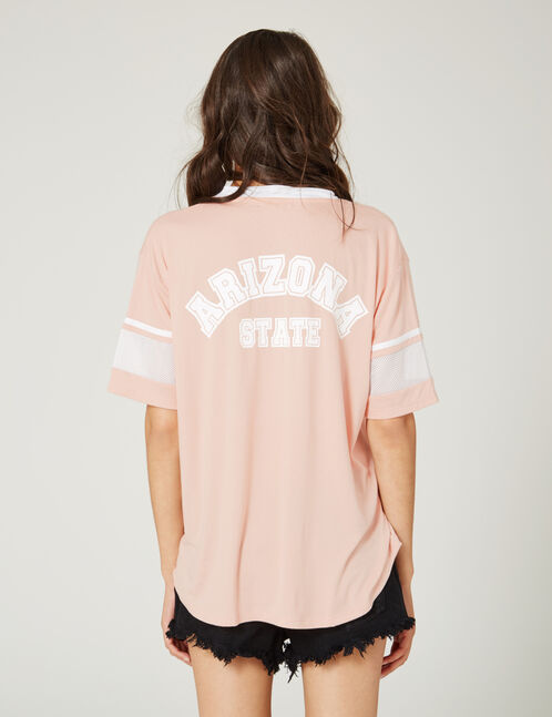 tee-shirt avec ouverture rose clair et blanc