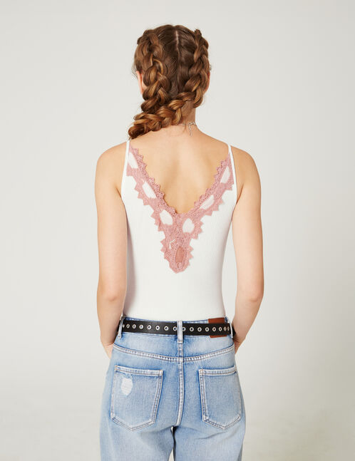 Cream bodysuit with contrasting pink lace detail