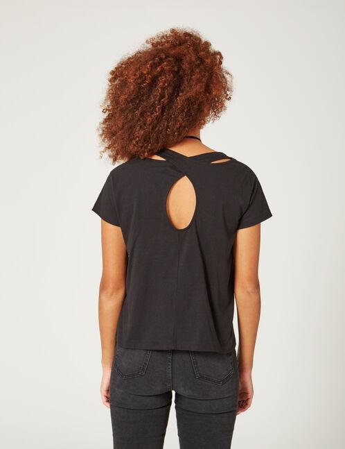 tee-shirt mix d'imprimés noir